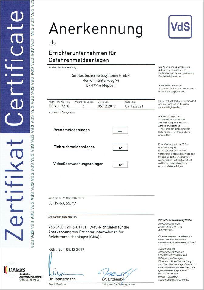 Sirotec_Zertifikat_VdS-Anerkennung_Anerkennung-VdS