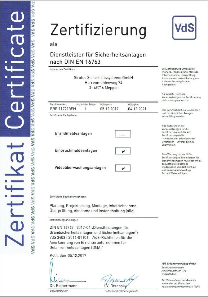 Sirotec_Zertifikat_VdS-Zertifikat_DIN_EN_16763